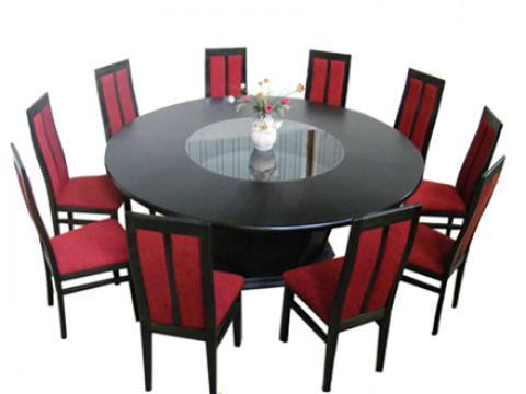 Set sufragerie masa Doina + 10 scaune tapitate MD107