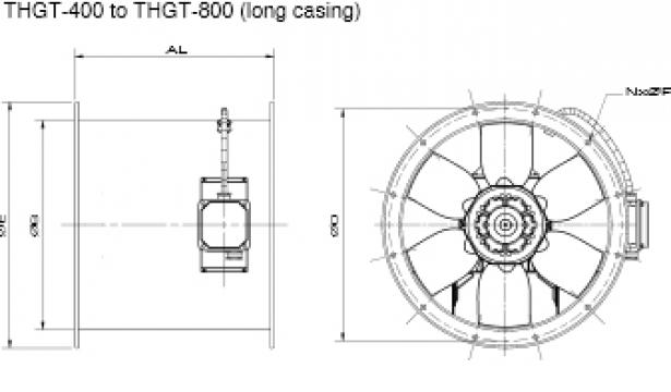 Ventilator 4 poli THGT4-400-6/-0,55