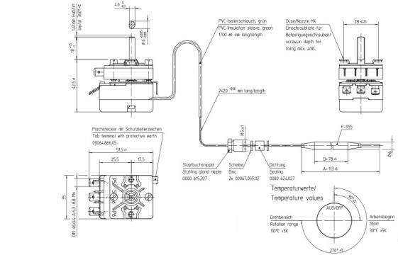 Termostat reglabil 30-110*C, 1CO, 16A