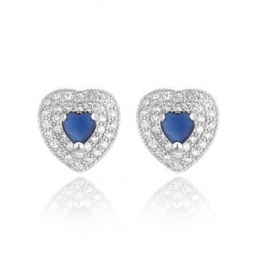 Cercei din argint Blue Diamond Heart de la Luxury Concepts Srl