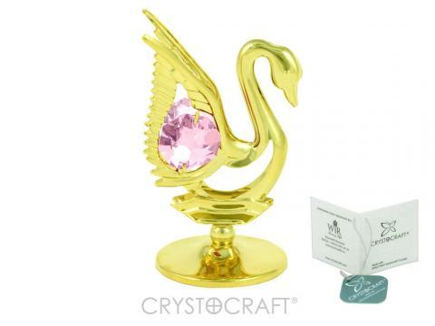 Marturie Lebada aurie cu cristal Swarovski roz