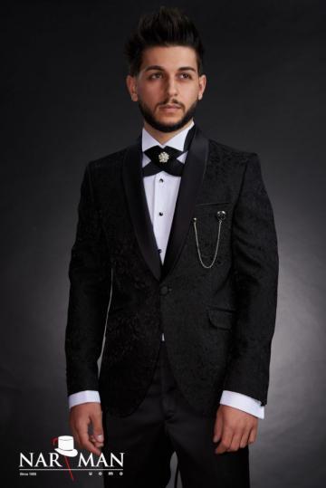 Costume barbati - Smoking negru, guler sal, 05CBN