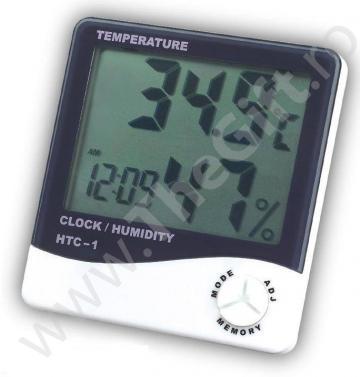 Ceas cu termometru si higrometru digital LCD
