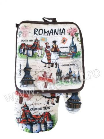 Set de bucatarie Romania, manusa si suport de la Thegift.ro - Cadouri Online