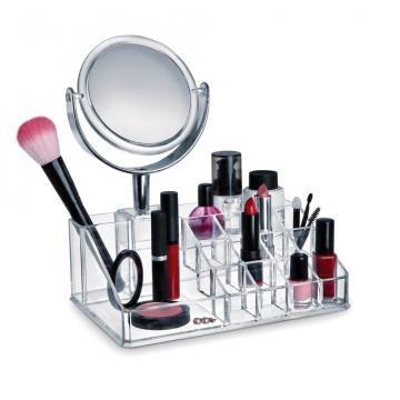 Suport organizator cosmetice cu oglinda