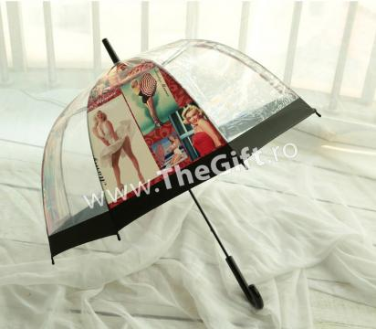Umbrela transparenta in forma de clopot, Marilyn Monroe