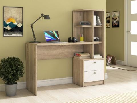 Birou Lima, sonoma/alb, 138x136x55 cm de la CB Furniture Srl