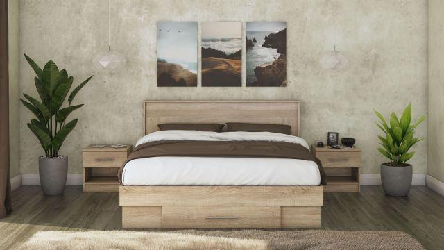 Set pat Beta cu 2 noptiere, sonoma, suport saltea inclus de la CB Furniture Srl