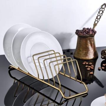 Suport mini organizator farfurii, metal auriu de la Plasma Trade Srl (happymax.ro)