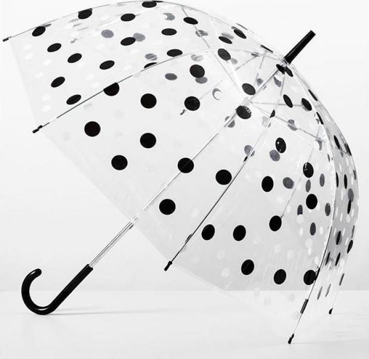 Umbrela transparenta clopot cu buline negre