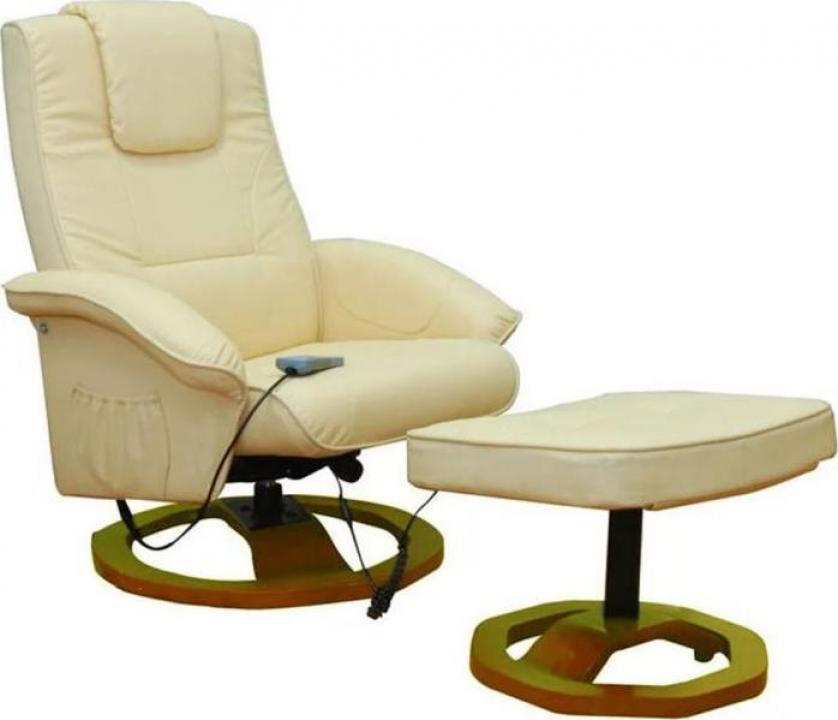 Fotoliu pentru masaj cu suport pentru picioare Resoga crem