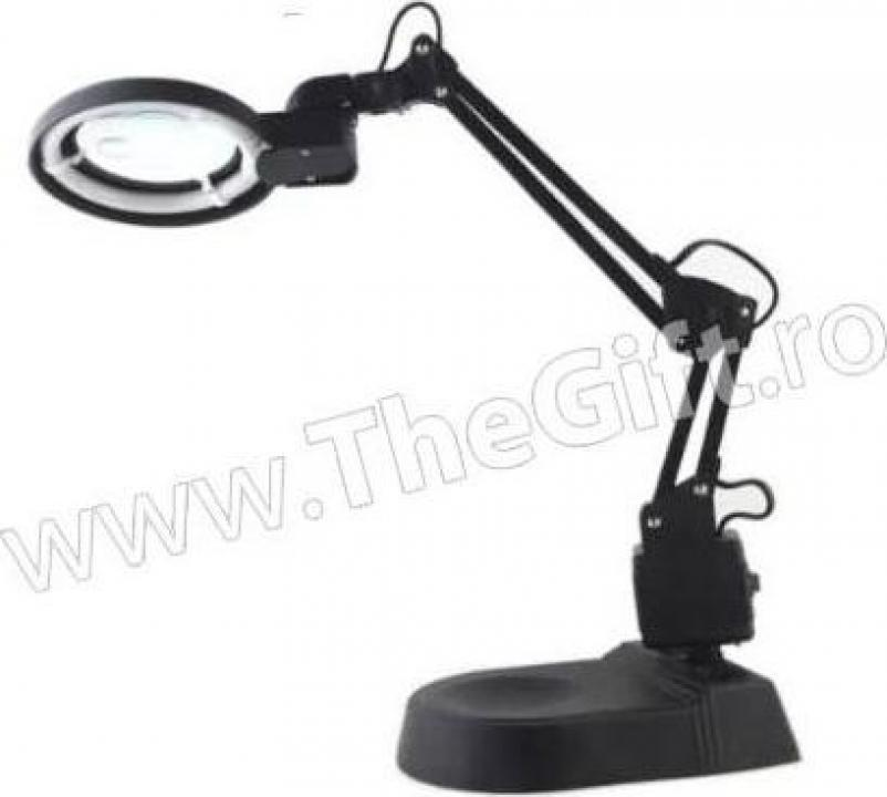 Lampa de birou metalica, cu brat flexibil, neon si lupa