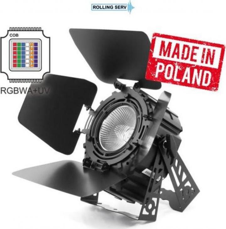 Proiector LED PAR 64 300W 6in1 COB Short RGBWA UV + Barndoor