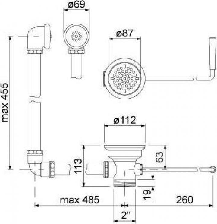 Maner curbat pentru scurgere din plastic 515131
