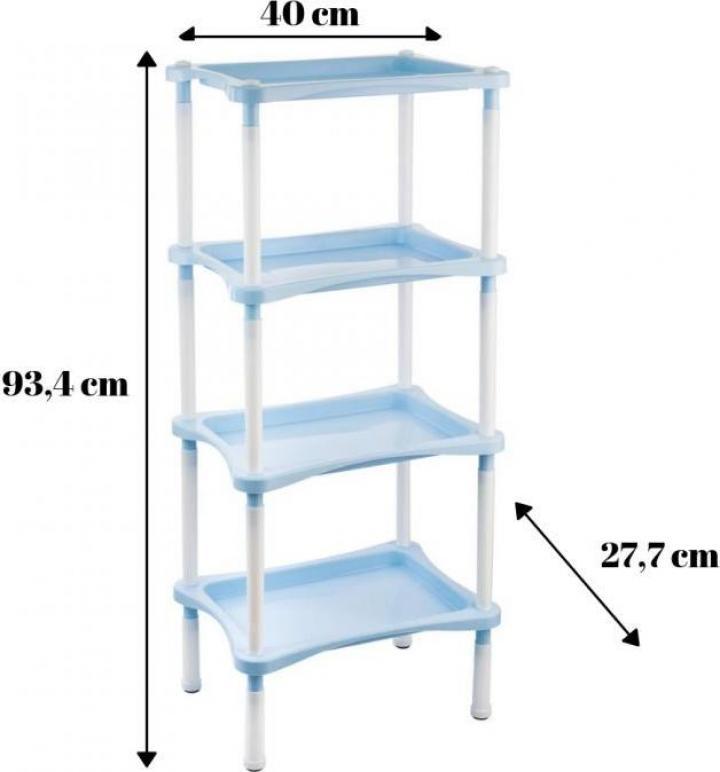Etajera plastic bucatarie baie 4 rafturi Grotto Comfort-bleu