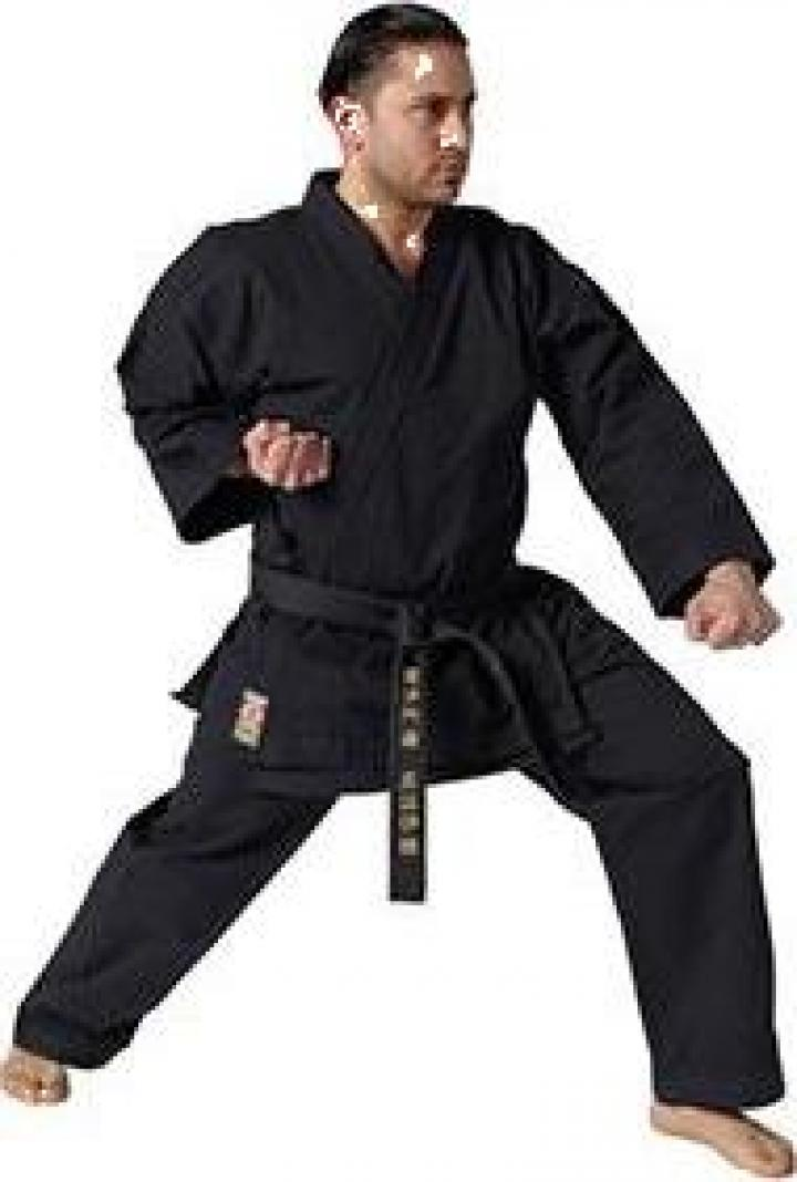 Kimono karate negru Traditional 12 oz Kwon