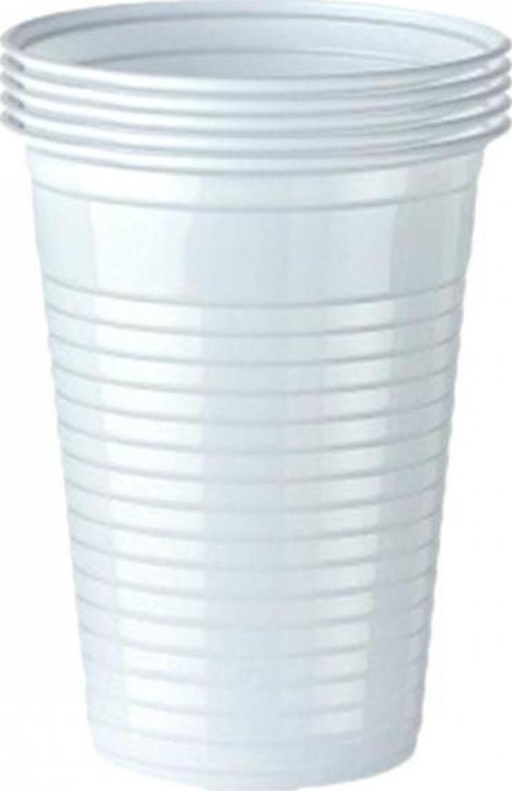 Pahare albe unica folosinta, PP, 80ml (5 buc/set)