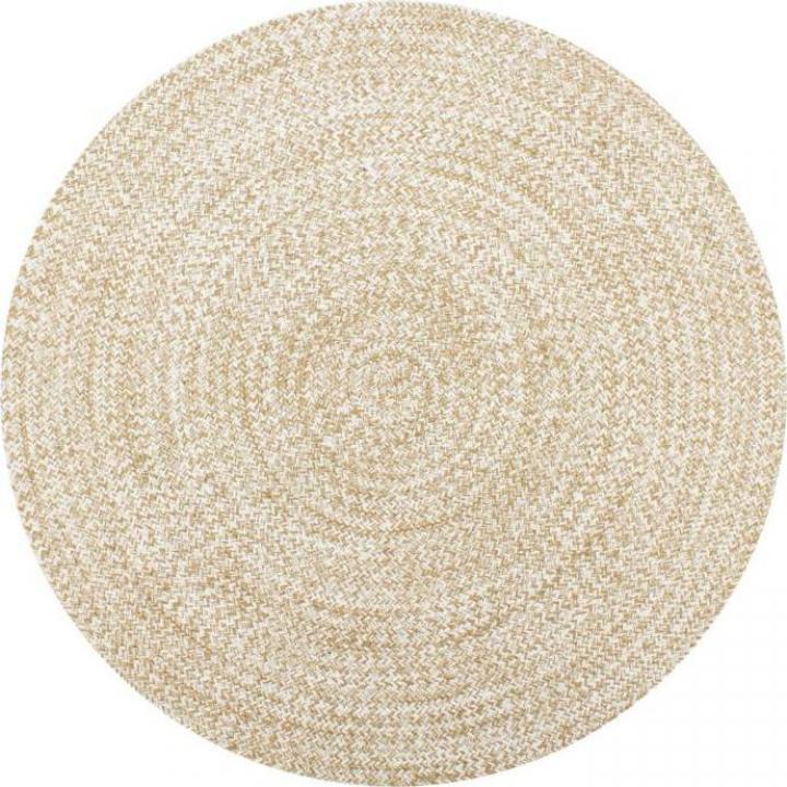 Covor manual, alb si natural, 120 cm, iuta