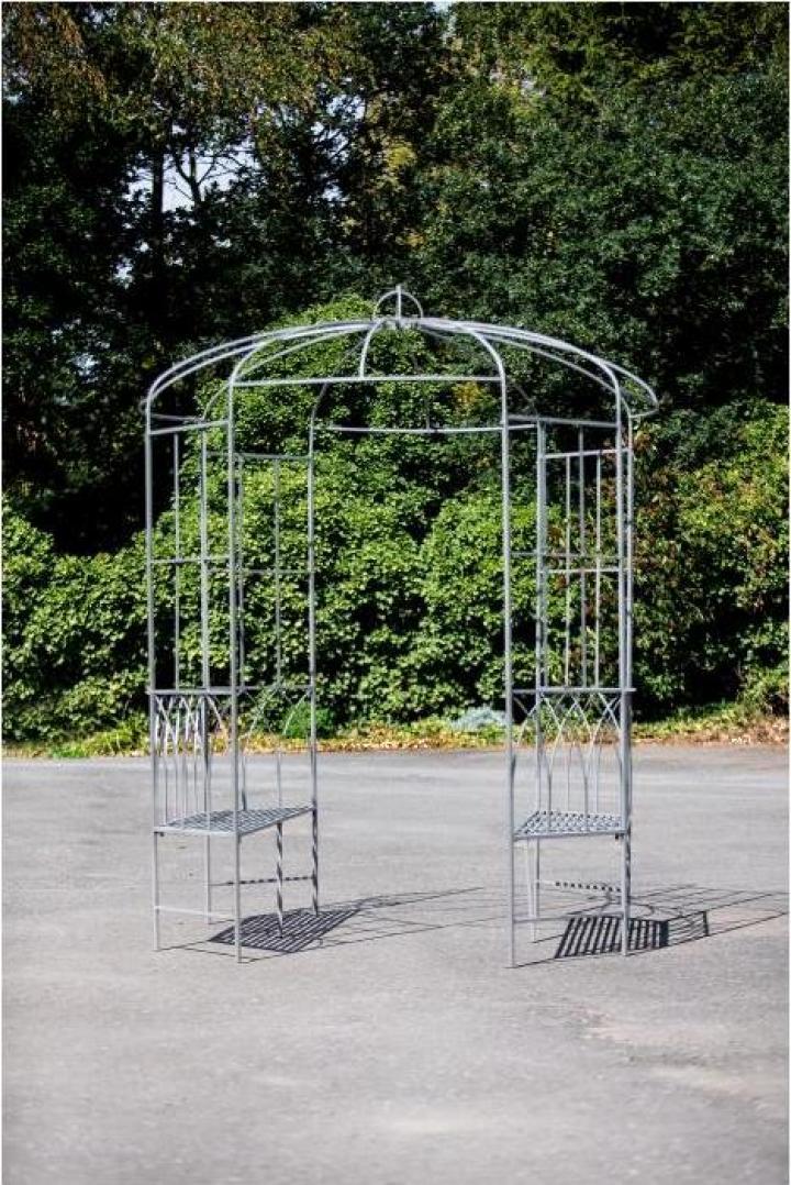 Pergola cu bancute, metal, 106x210x46 cm