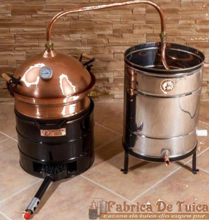 Cazan tuica 35 litri, amestecator, focar pentru arzator gaz