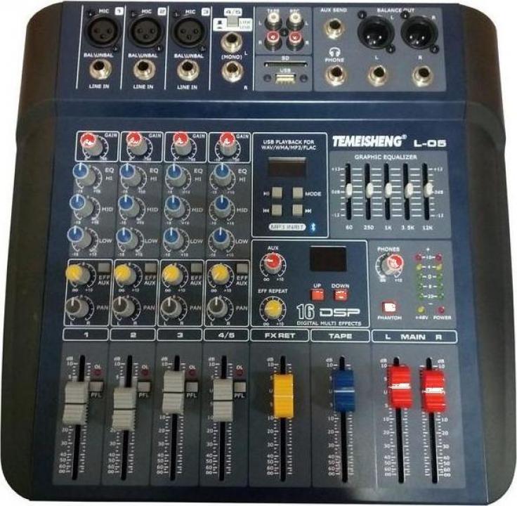 Mixer audio profesional fara amplificare Temeisheng L-05