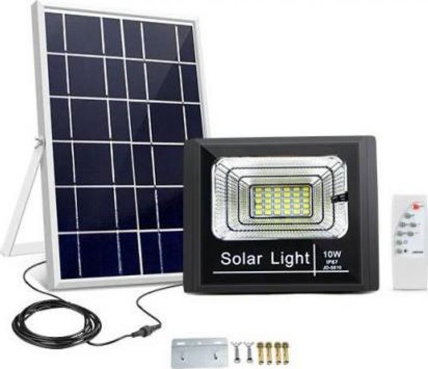 Panou solar cu proiector 10W, cu telecomanda