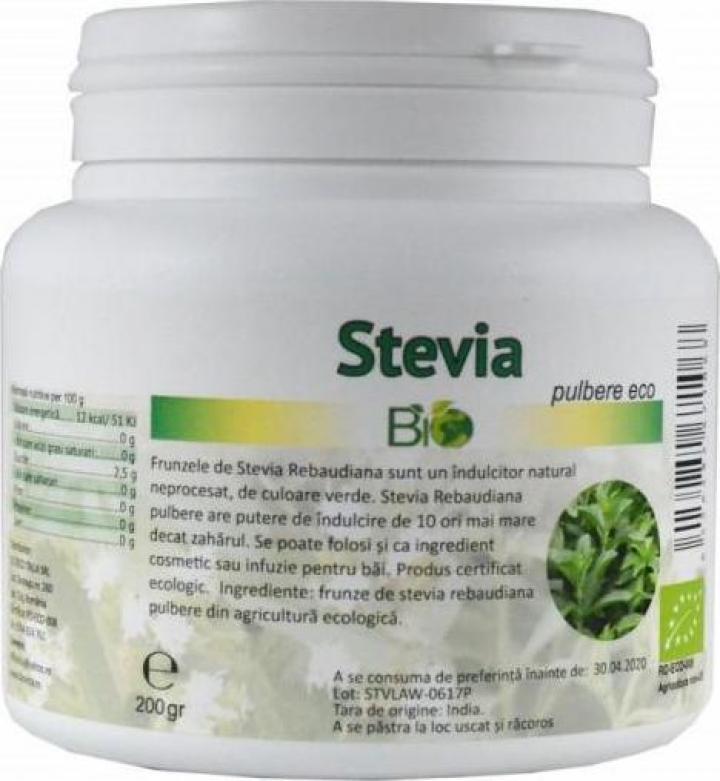 Pulbere Stevia Rebaudiana, eco bio 200g