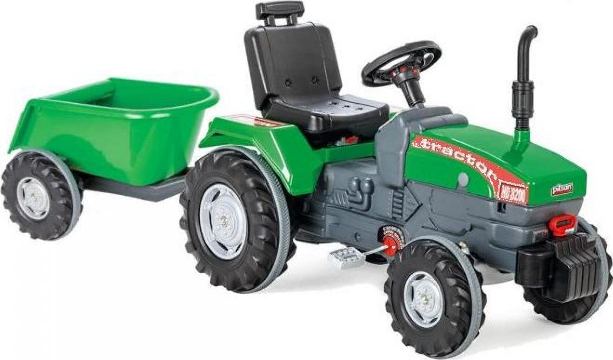 Jucarie Tractor cu pedale si remorca Pilsan Super verde